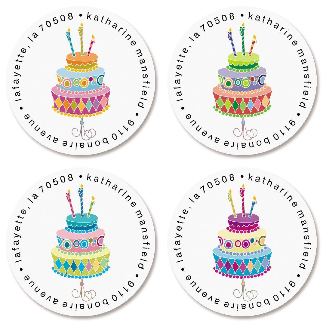 Birthday Round Return Address Labels (4 Designs)