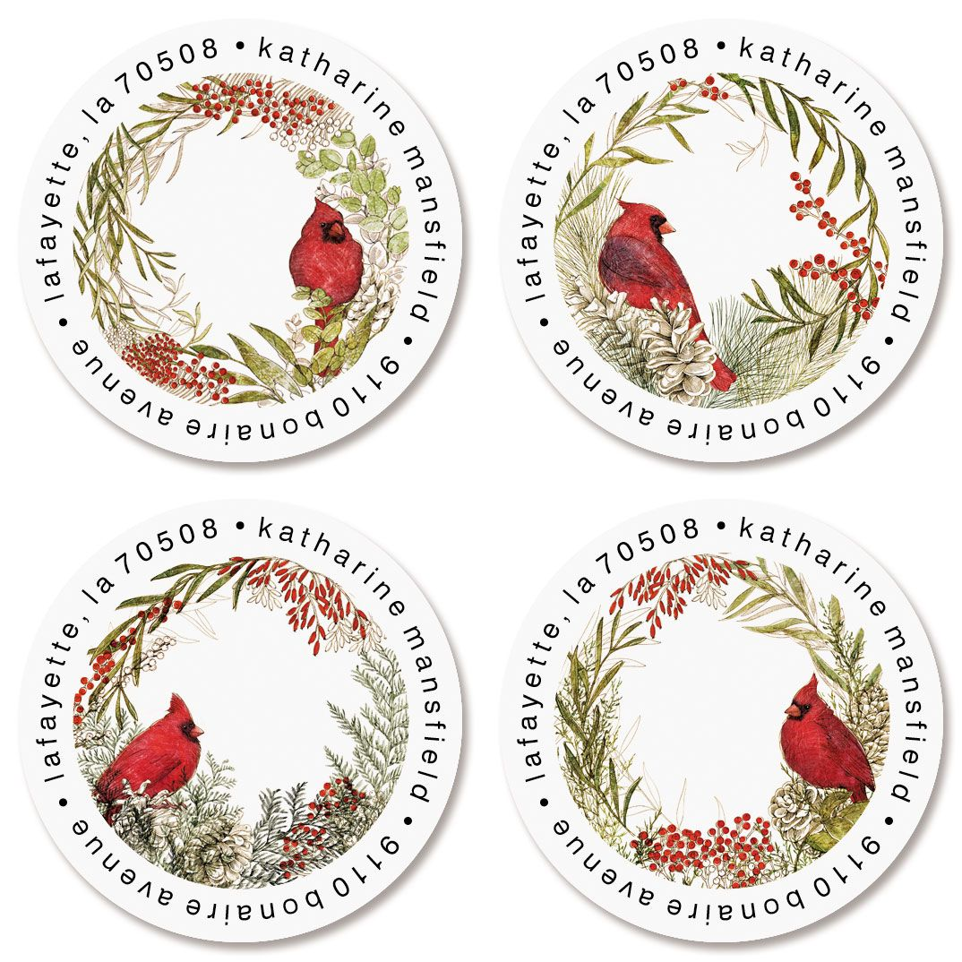 Winter Cardinals Round Return Address Labels (4 Designs)