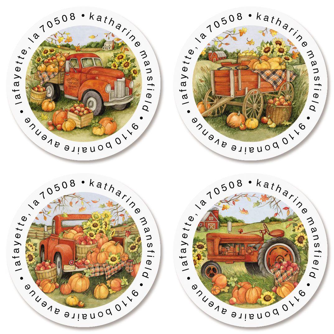 Harvest Orange Truck Round Return Address Labels (4 Designs)