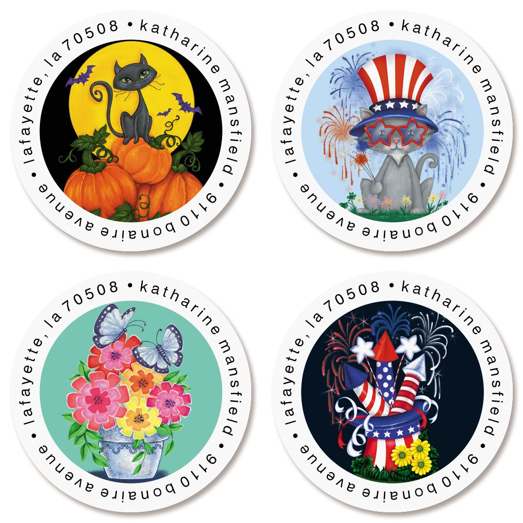 Seasonal Celebration Round Return Address Labels (4 Designs)