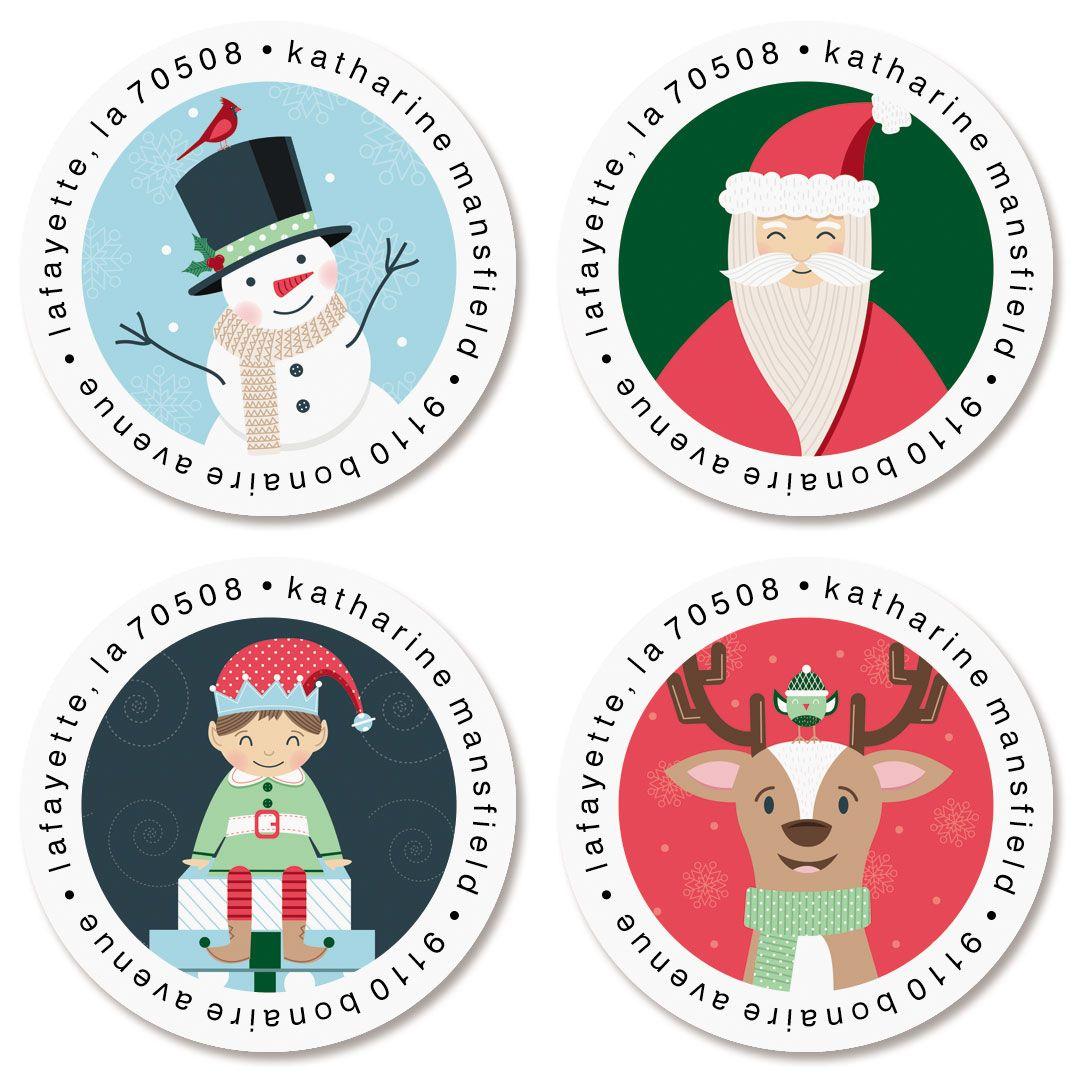 Santa's Village Round Return Address Labels (4 Designs)