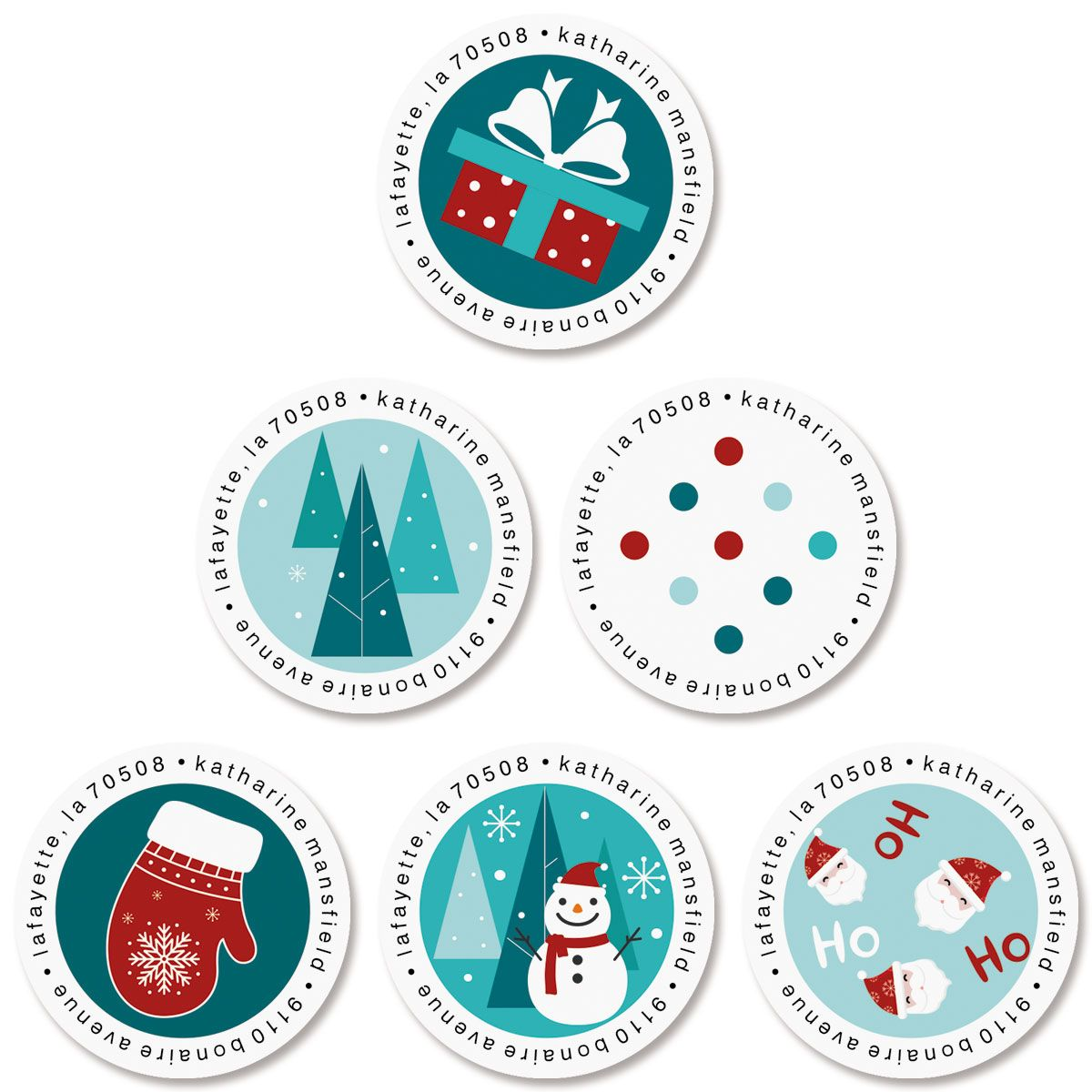 Yay Holidays Round Return Address Labels (6 Designs)