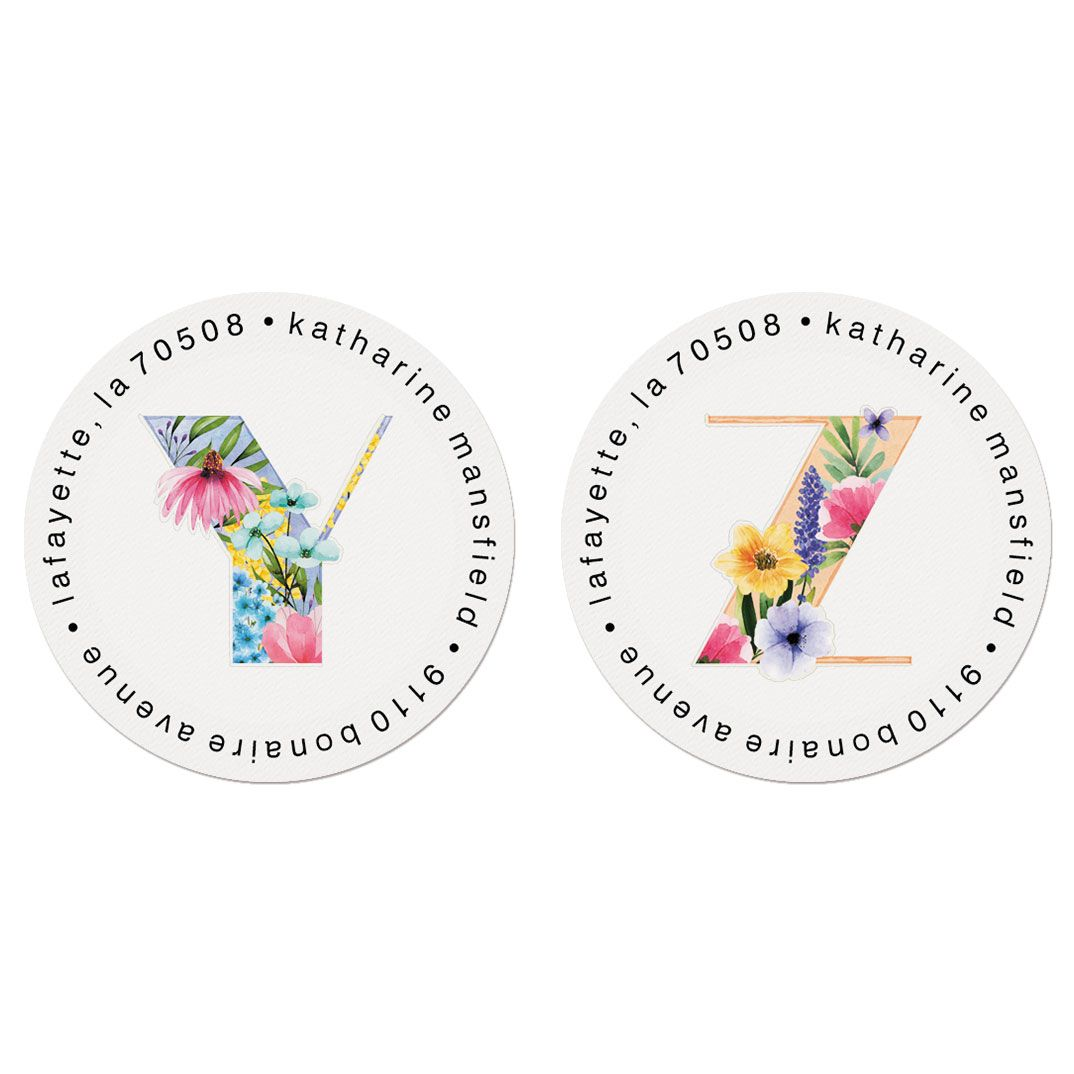 Floral Alphabet Round Return Address Labels