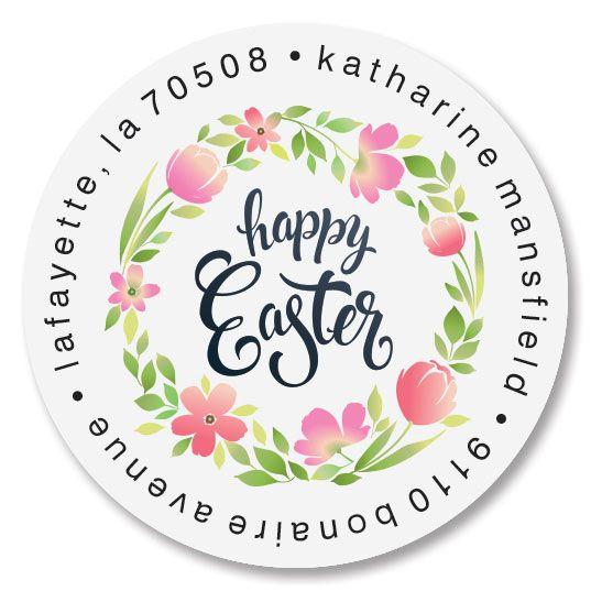 Easter Fun Round Return Address Labels