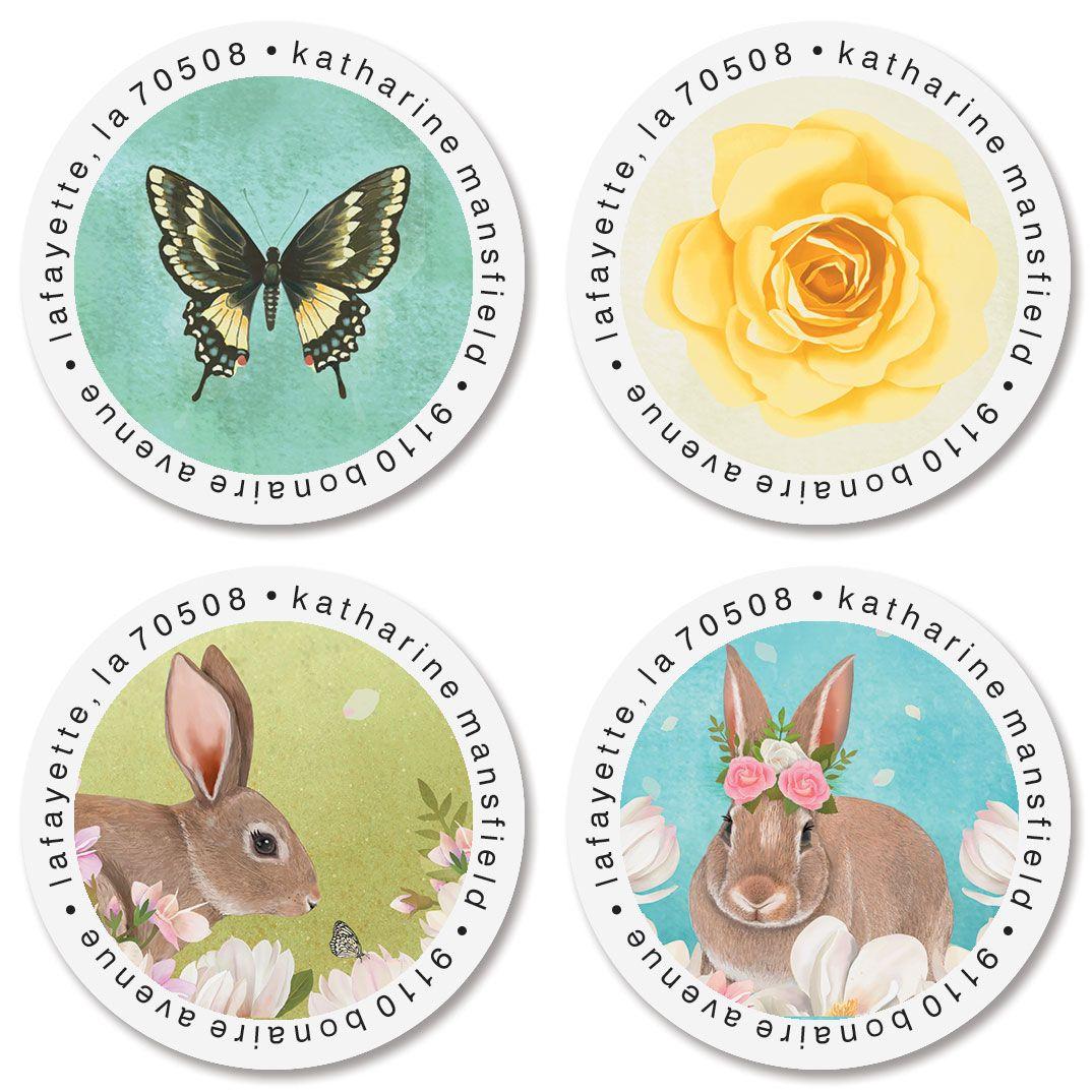 Bunnies & Butterflies Round Return Address Labels (4 Designs)