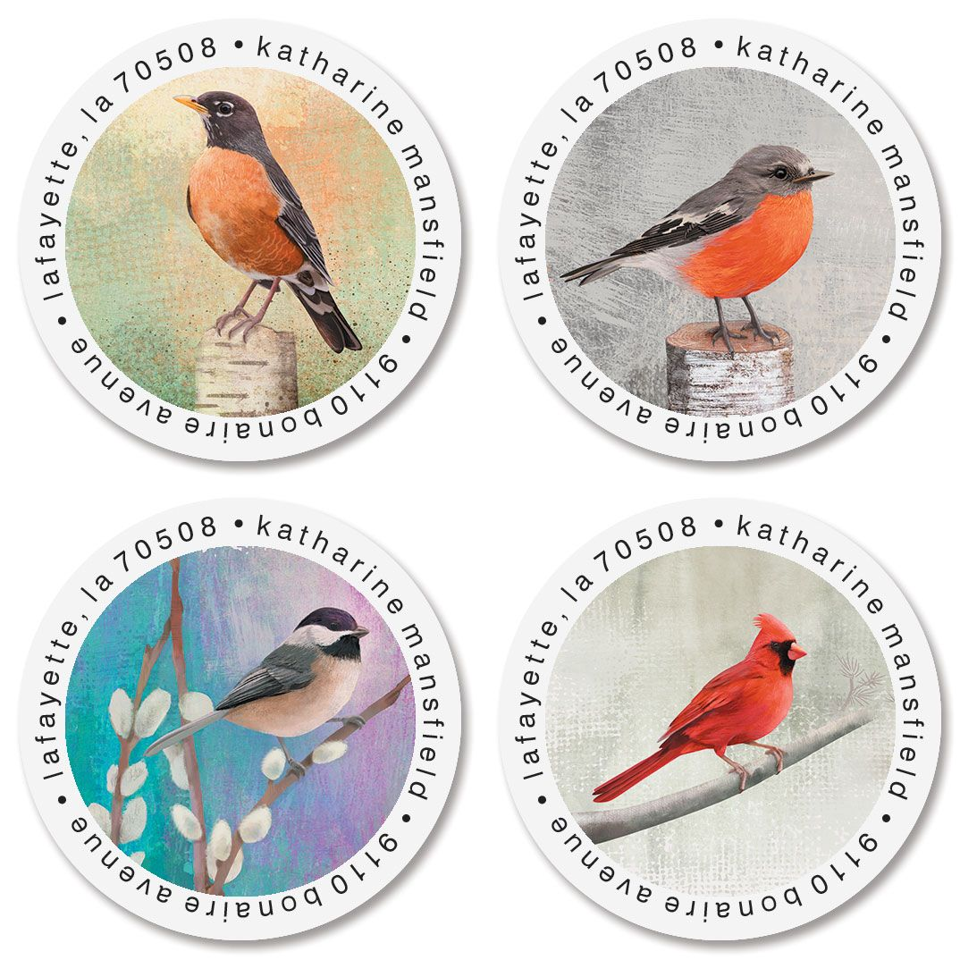Birds Round Return Address Labels (4 Designs)