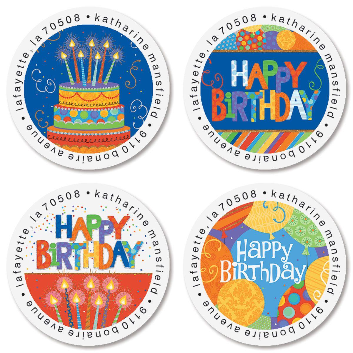 Awesome Birthday Round Return Address Labels (4 Designs)
