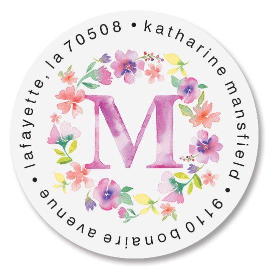 Floral Initials Round Return Address Labels