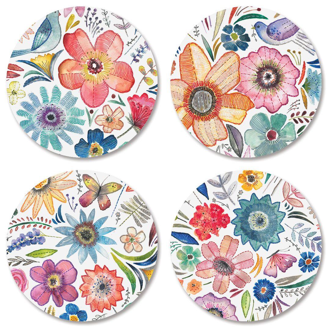 Embroidery Florals Envelope Seals (4 Designs)