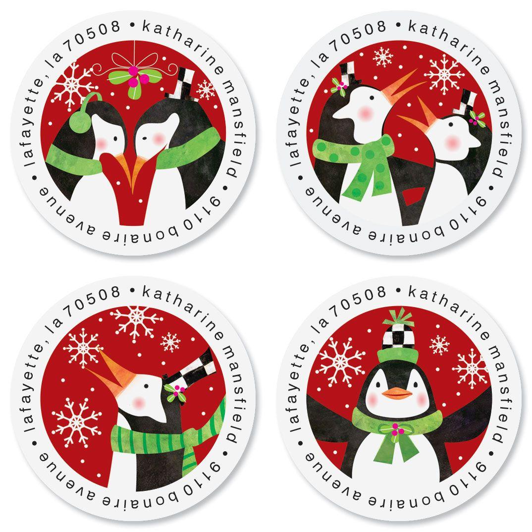 Top Hat Penguin Round Return Address Labels (4 Designs)