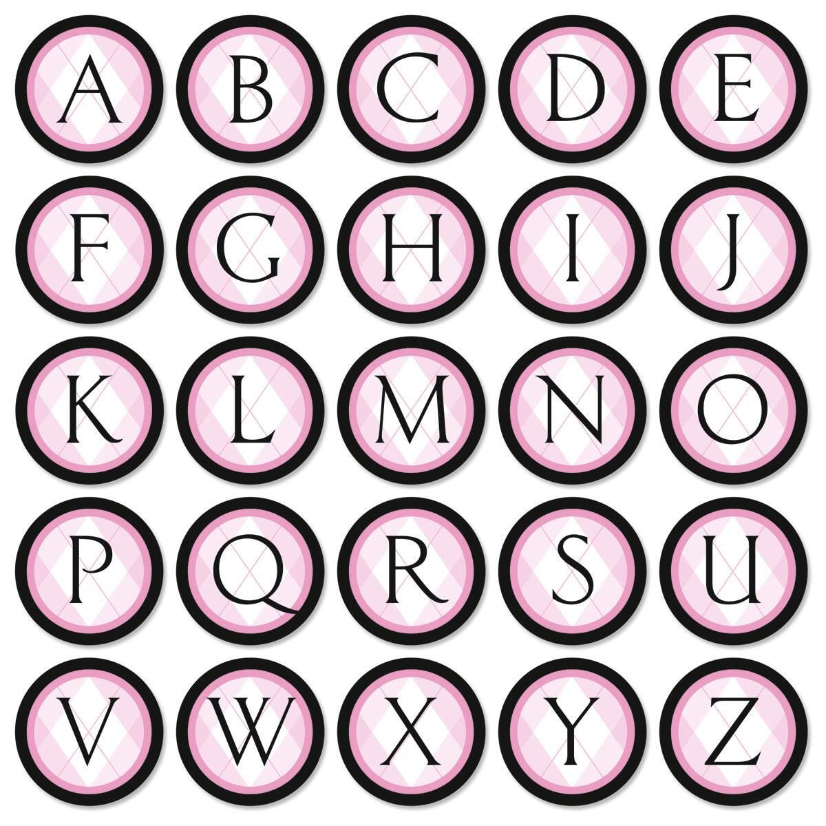 Pink & Black Argyle Initial Envelope Seals