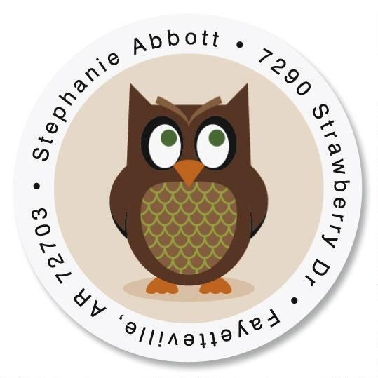 Owl Round Address Labels