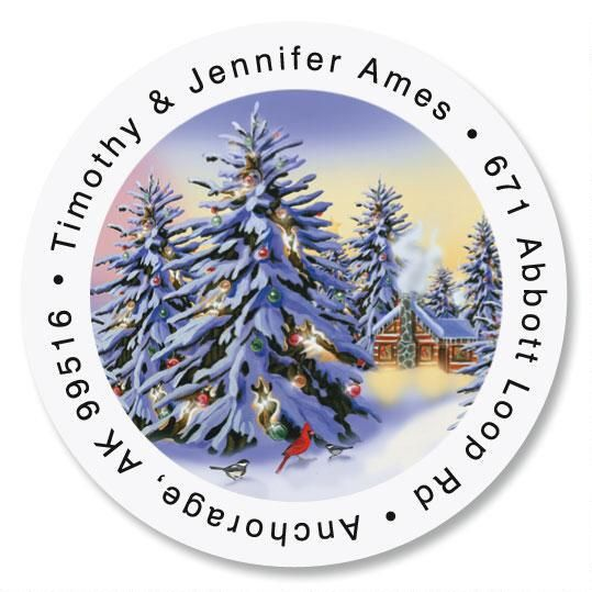 Snowy Trees Round Return Address Labels