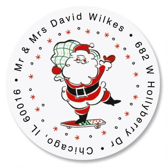 Retro Santa  Round Return Address Labels