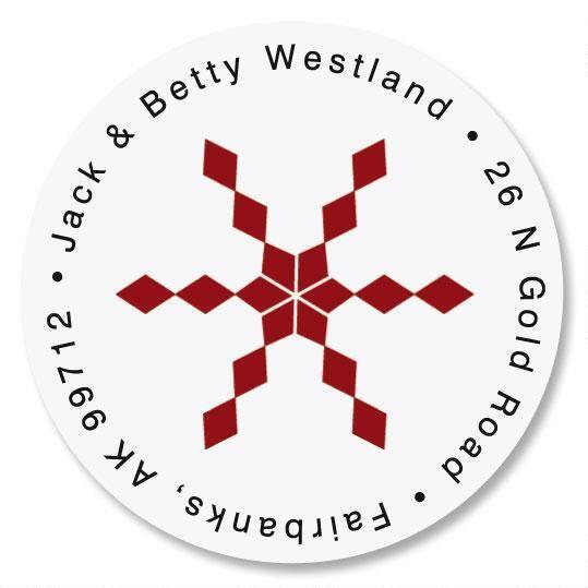 Snowflake & Argyle  Round Return Address Labels