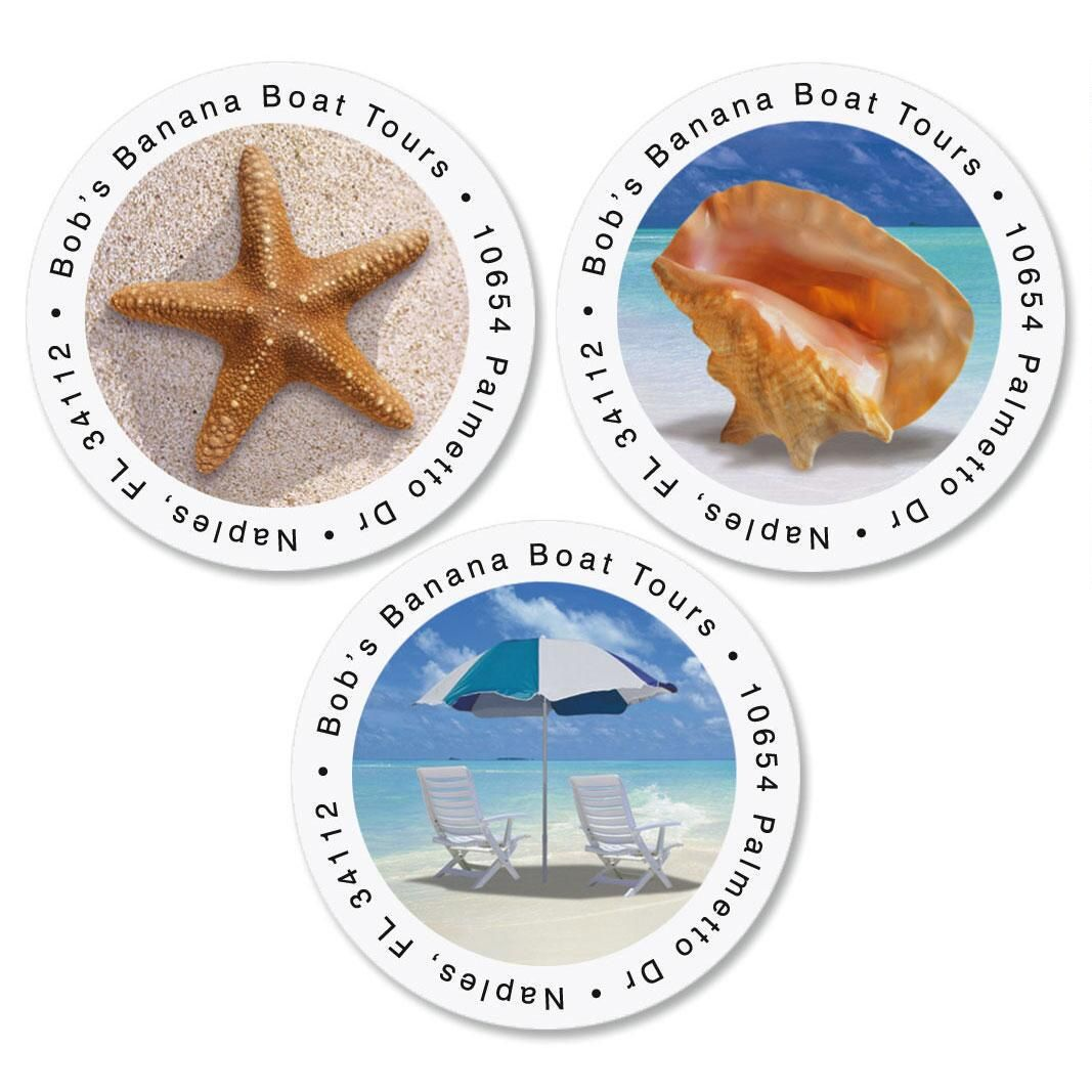 Calm Seas Round Address Label  (3 Designs)