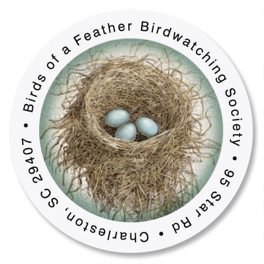 Blue Nest Round Address Label