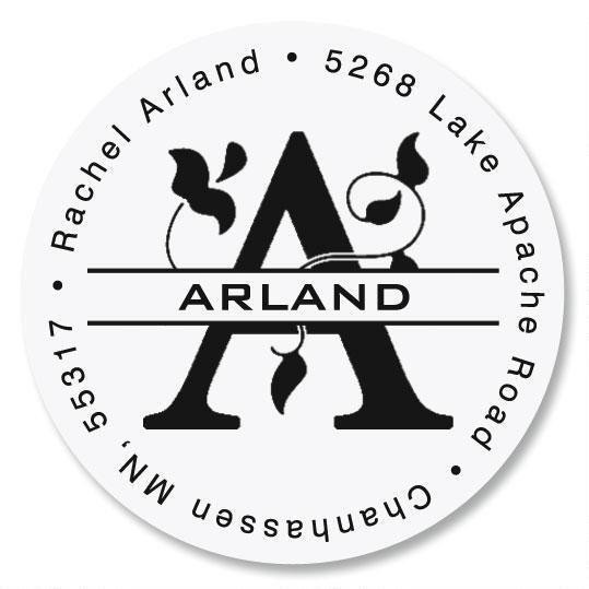 Last Name Initial Round Return Address Label