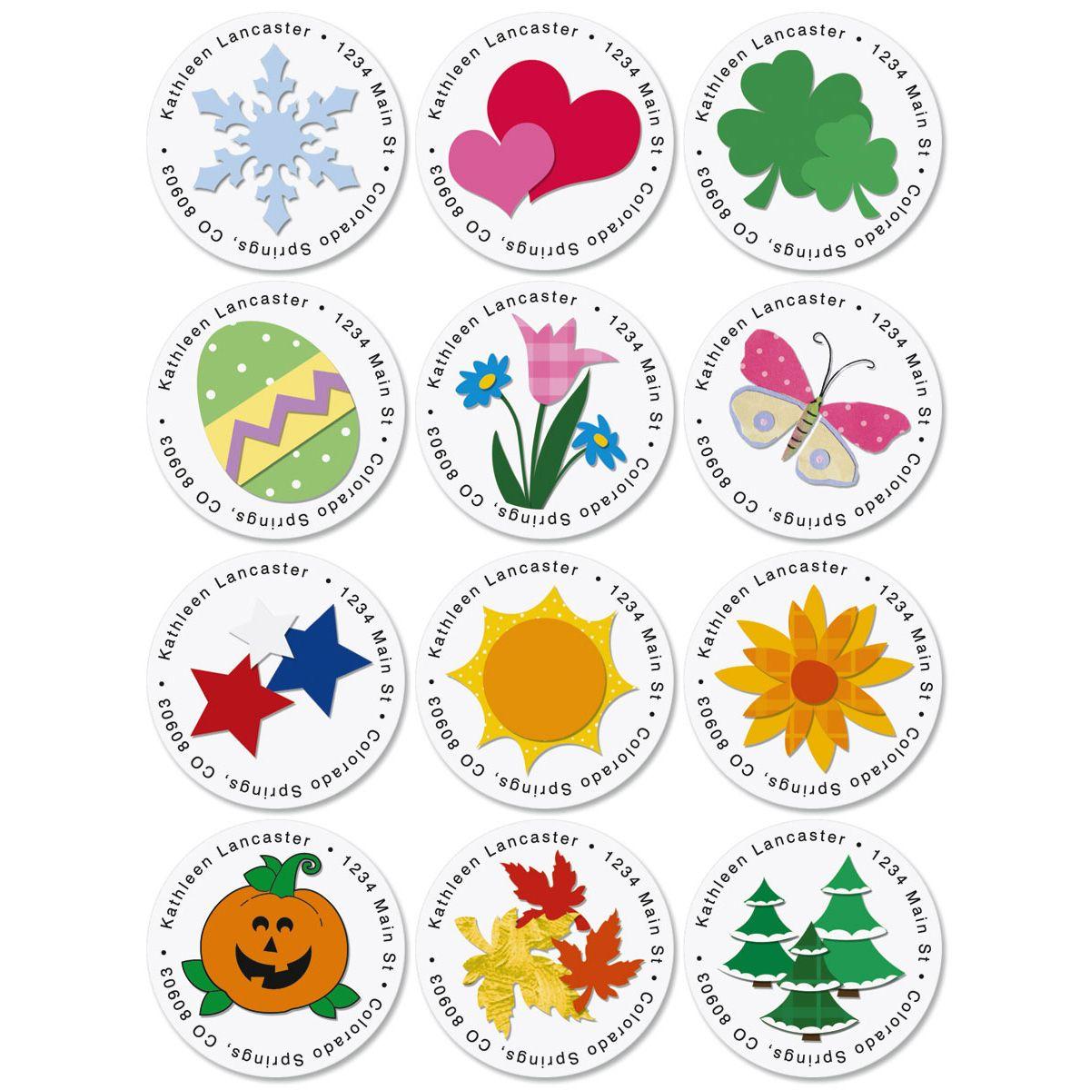 Year-Round-Round Return Address Labels  (12 Designs)