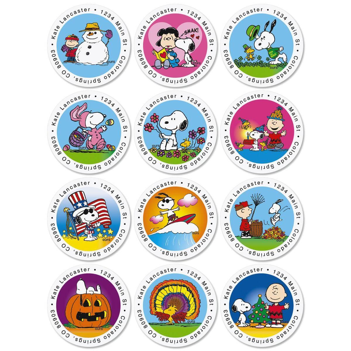 PEANUTS® Year-Round Round Address Labels  (12 Designs)