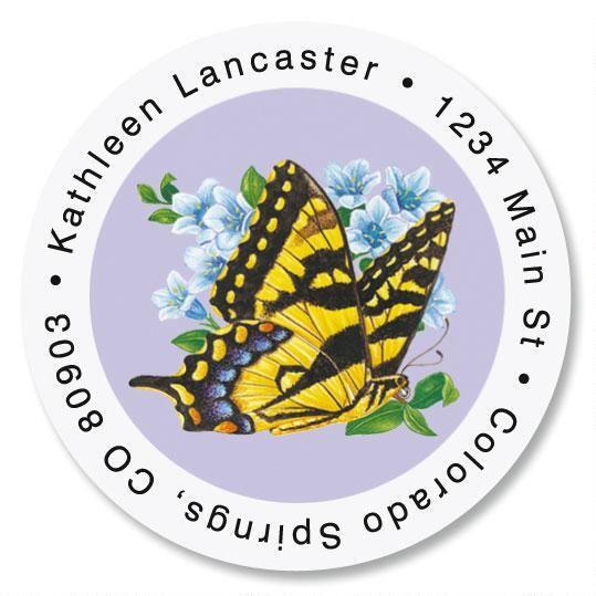 Brilliant Butterflies Round Address Labels  (6 Designs)