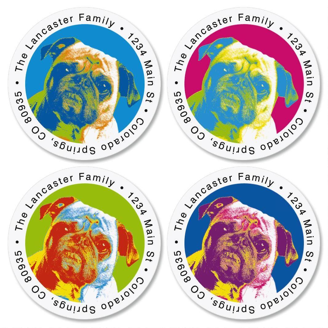 Pop Art Puppies Round Address Labels