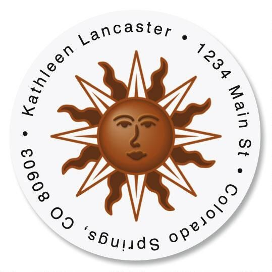 Sunburst Round Return Address Labels