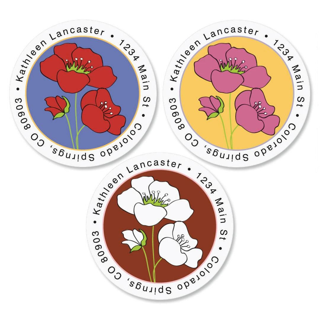 Poppy Round Address Labels  (3 colors)