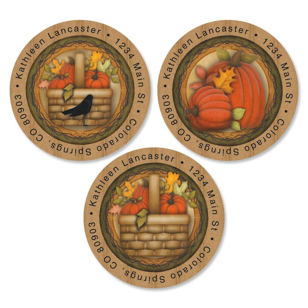 Pumpkin  Round Return Address Labels  (3 Designs)