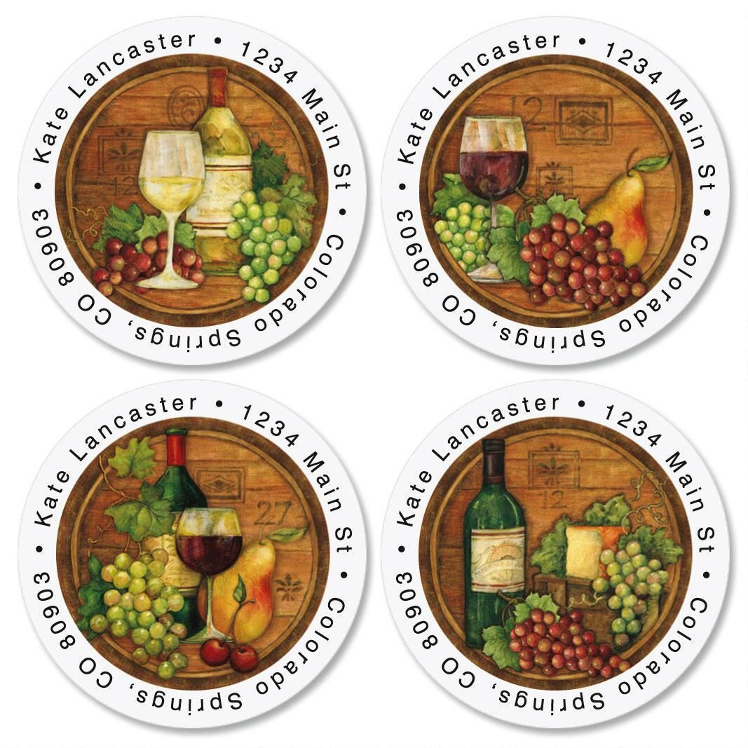 Napa Barrels  Round Return Address Labels