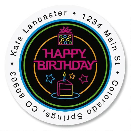 Neon Happy Birthday Round Address Labels