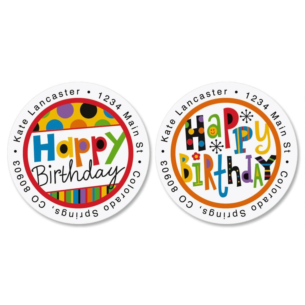 Happy Birthday Round Return Address Labels  (2 Designs)