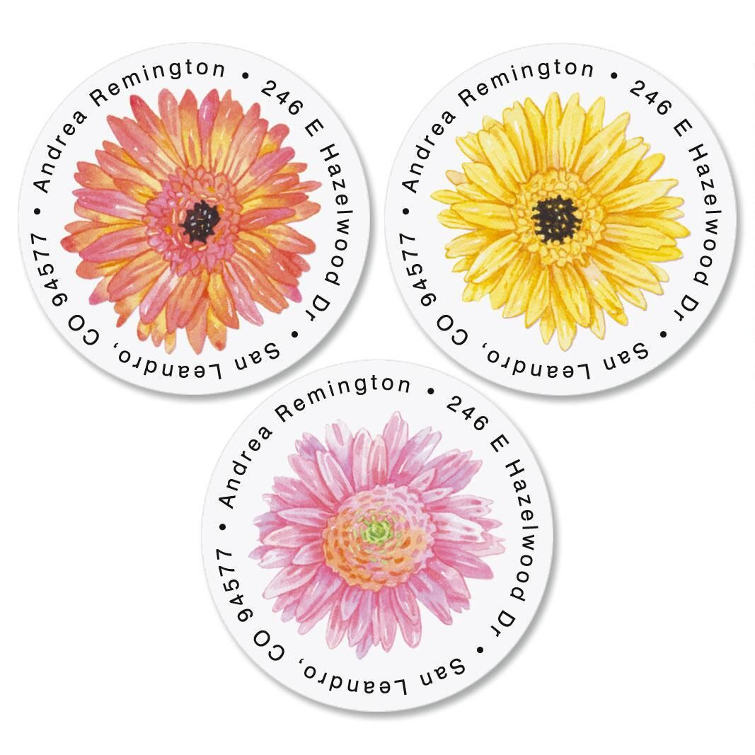Gerbera Daisy Round Return Address Labels  (3 Designs)