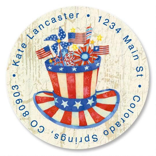 Stars & Stripes Forever Round Address Labels