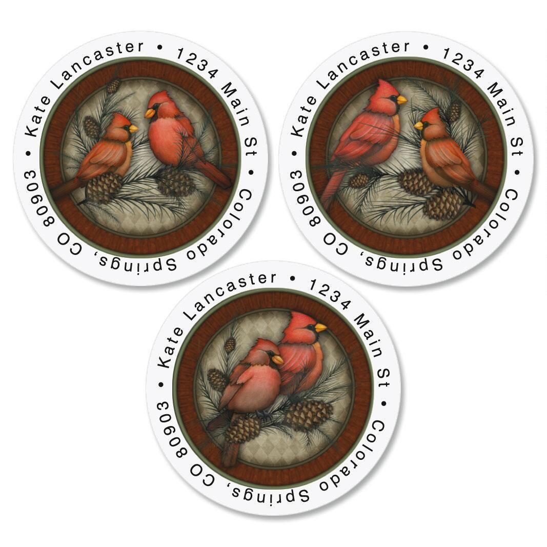 Red Cardinals Round Address Labels  (3 Designs)