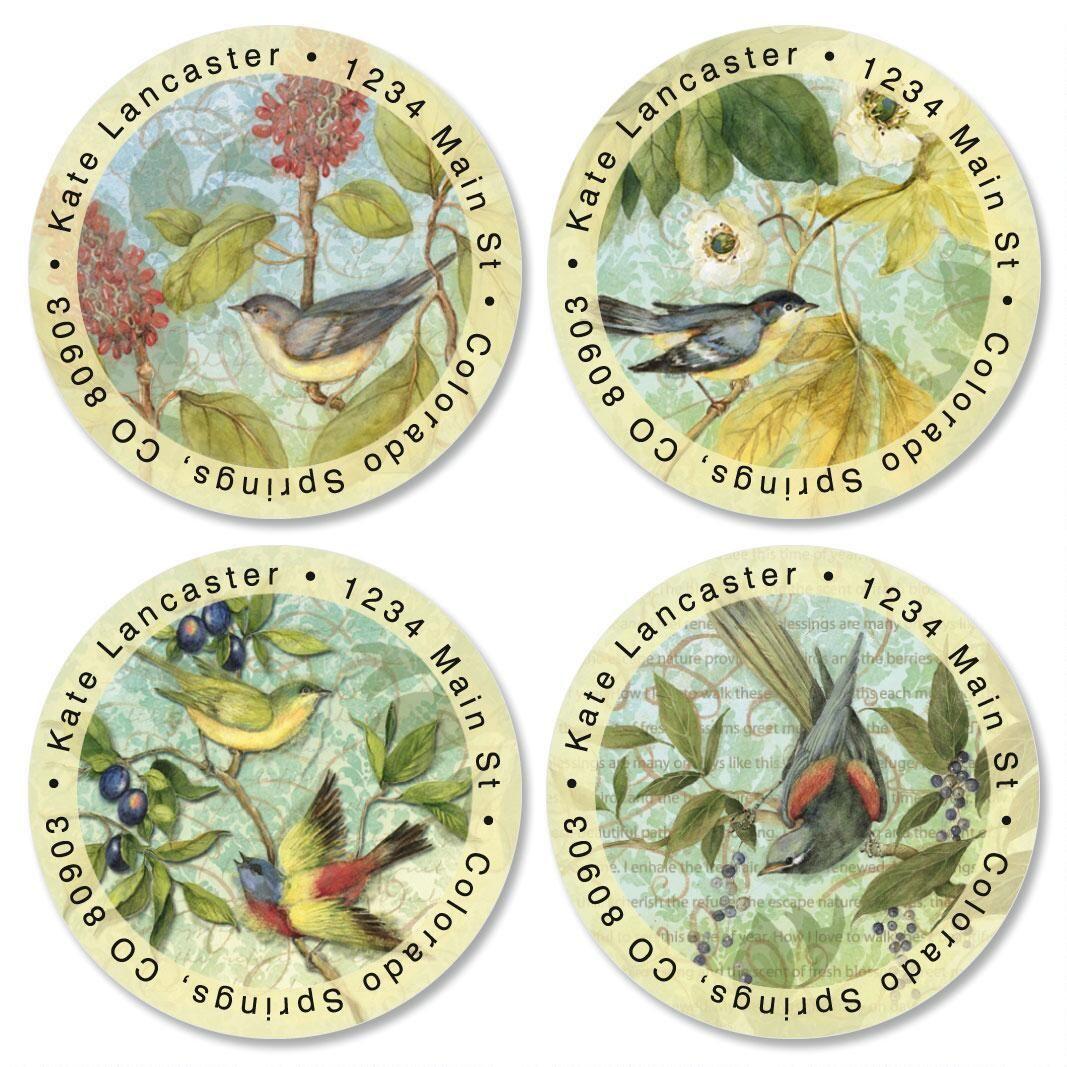 Botanical Brights Round Return Address Labels  (4 Designs)