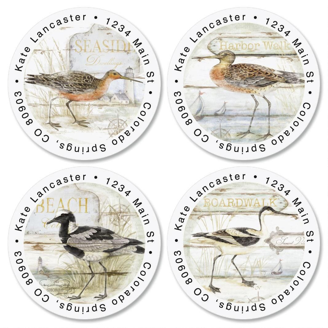 Seabirds Round Return Address Labels  (4 Designs)