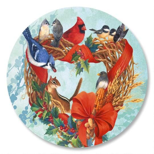 Birdland Wreath Envelope Seals