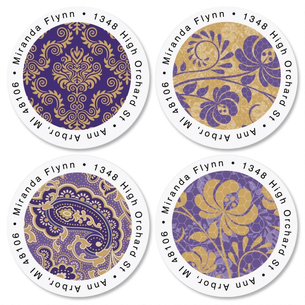 Frosty Lavender Round Address Labels  (4 Designs)