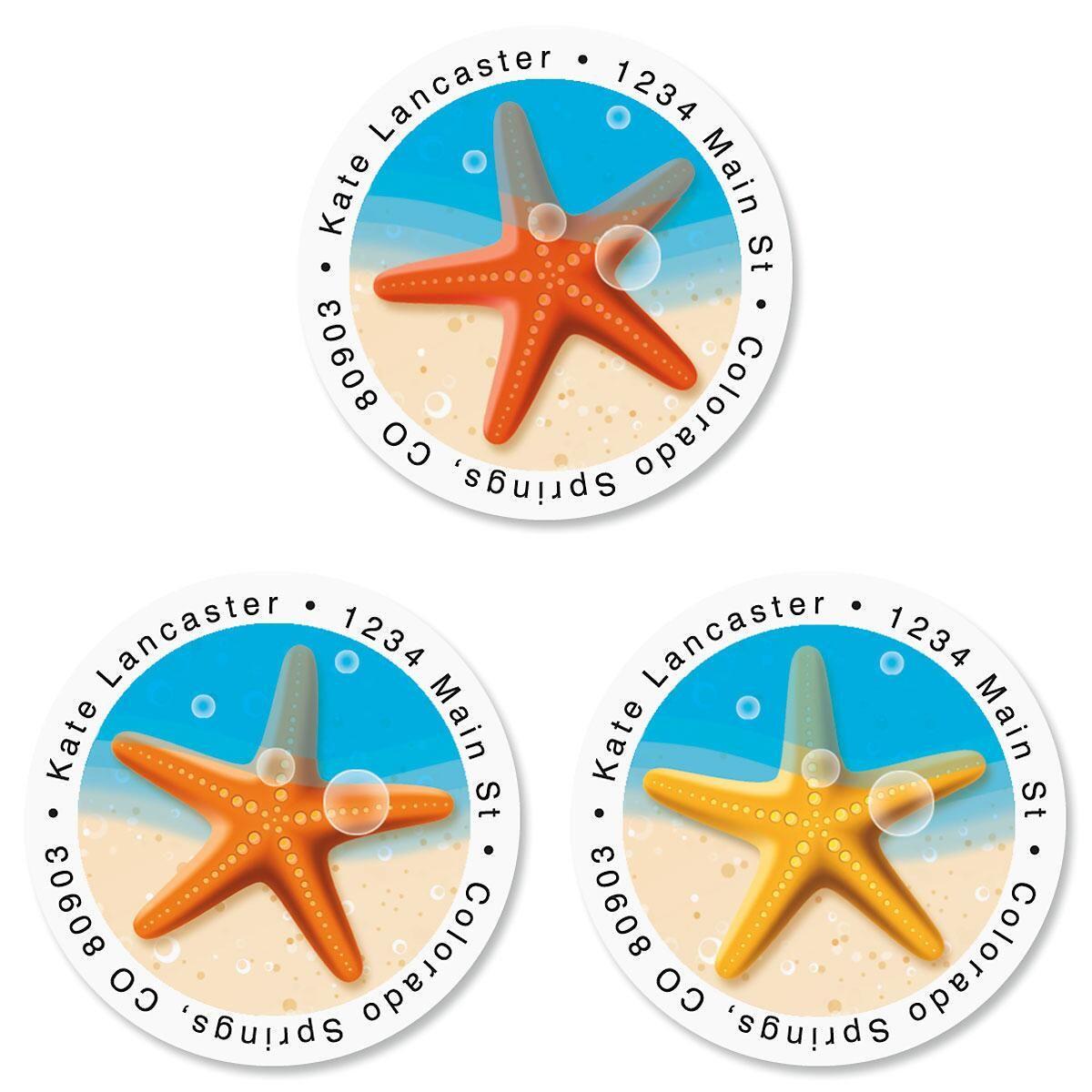 Starfish Trio Round Address Labels  (3 Designs)