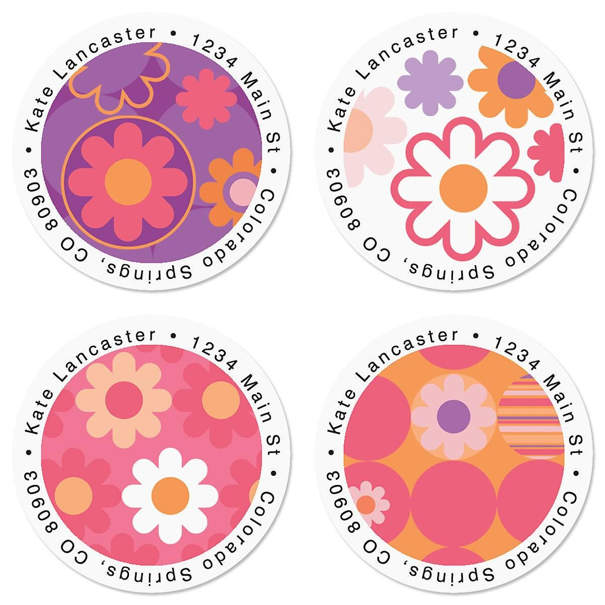 Daisy Delight Round Return Address Labels  (4 Designs)
