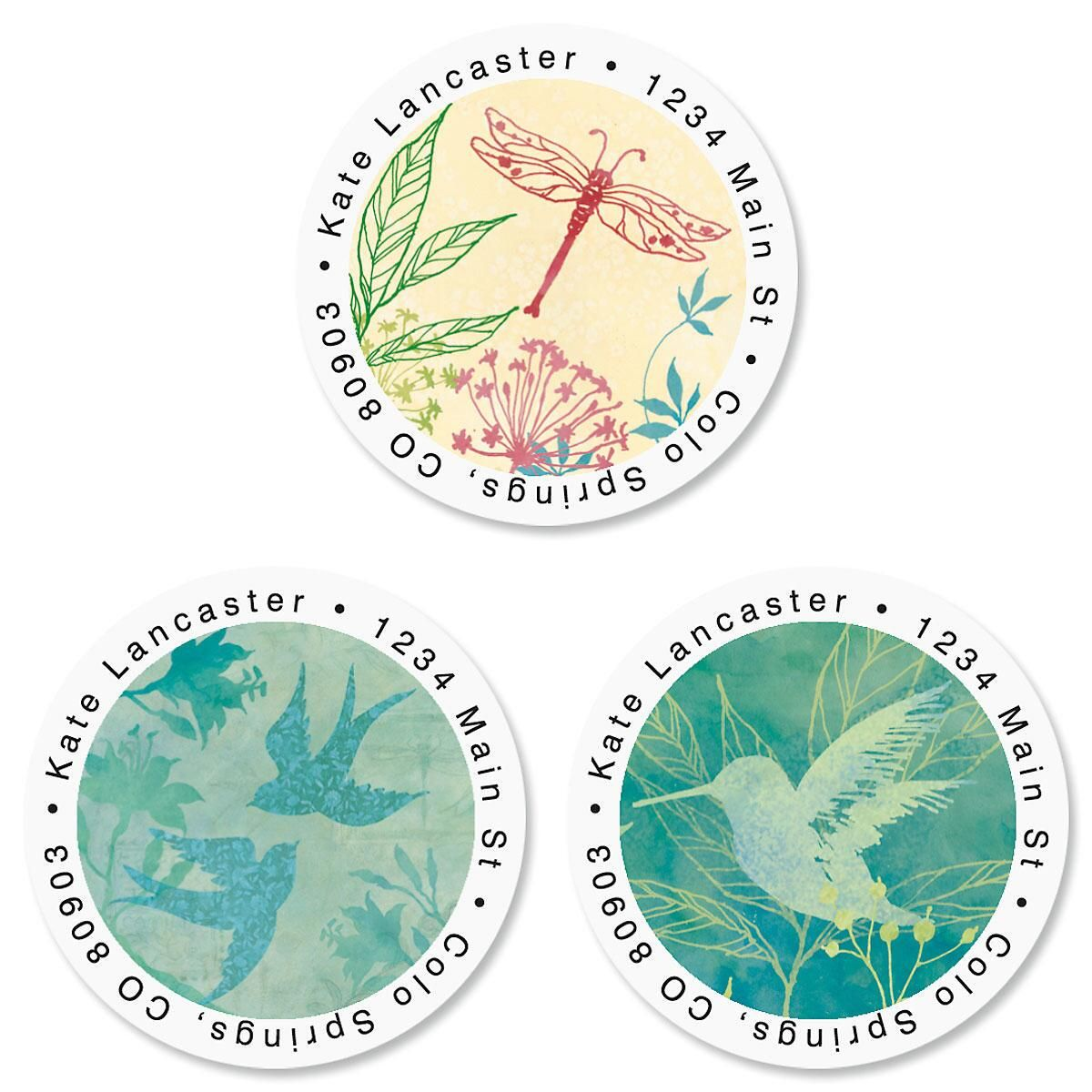 Nature Song Round Return Address Labels  (3 Designs)