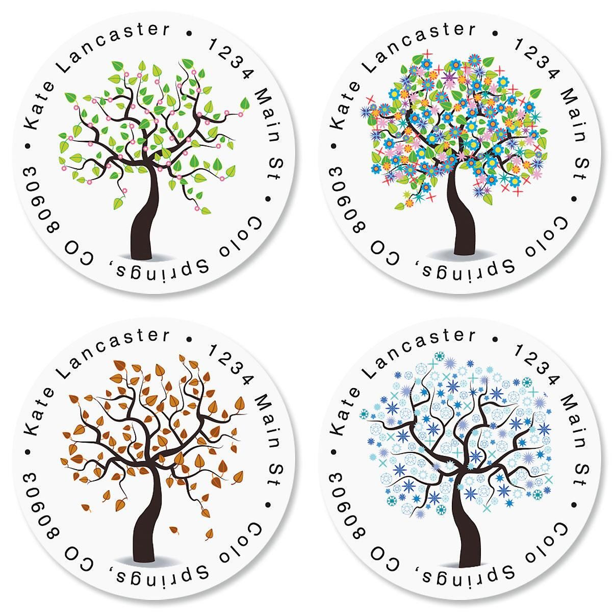 Seasons of Trees Round Return Address Labels  (4 Designs)