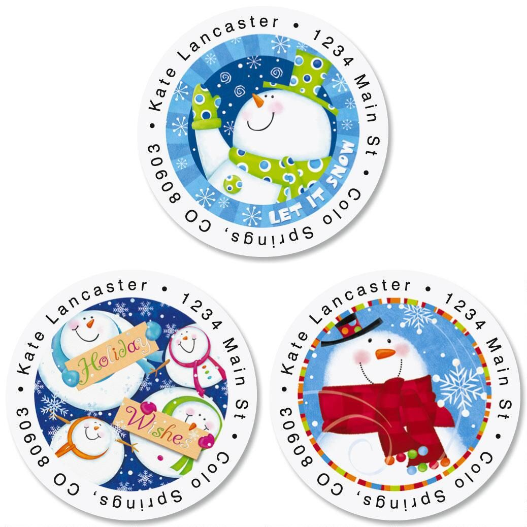 Snowman Wishes Round Return Address Labels  (3 Designs)