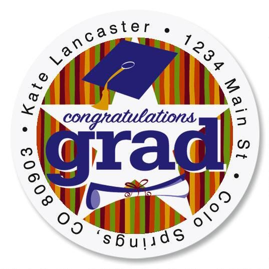 Graduation Star Round Return Address Labels