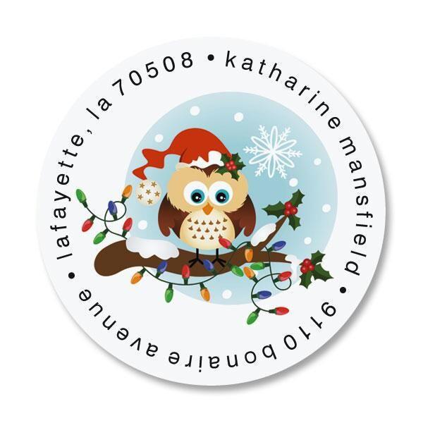 Santa Owl Round Address Labels