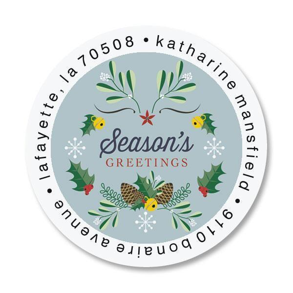 Winter Laurel Round Return Address Labels