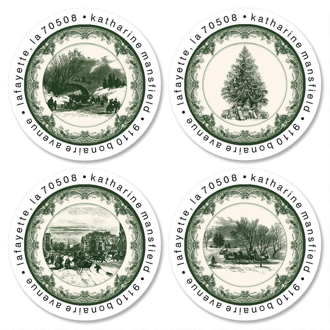 Christmas Toile Round Return Address Labels  (4 Designs)