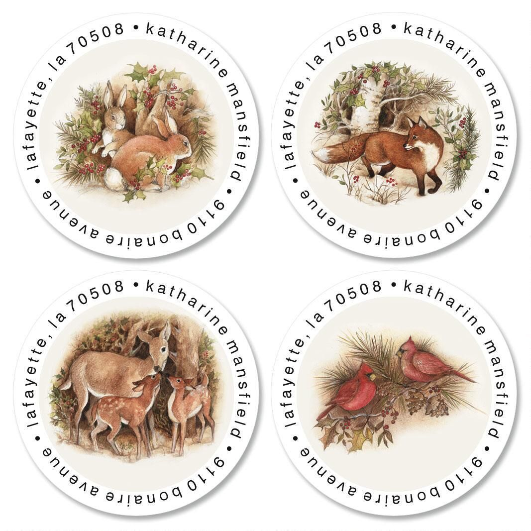 Forest Holiday Round Address Labels  (4 Designs)