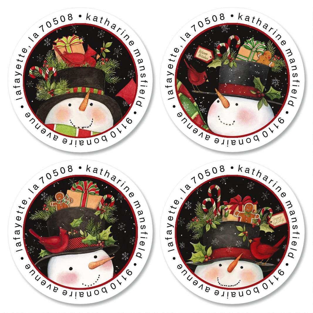 Top Hat Treats Round Address Labels  (4 Designs)